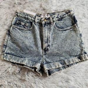 American apparel blue acid wash high waist shorts